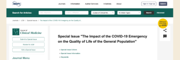 "SPECIAL ISSUE | ""The Impact of the COVID-19 Emergency on the Quality of Life of the General Population"""