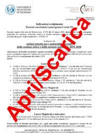 Svolgimento tirocinio Dipartimento SPPEFF - nota 1 aprile 2020