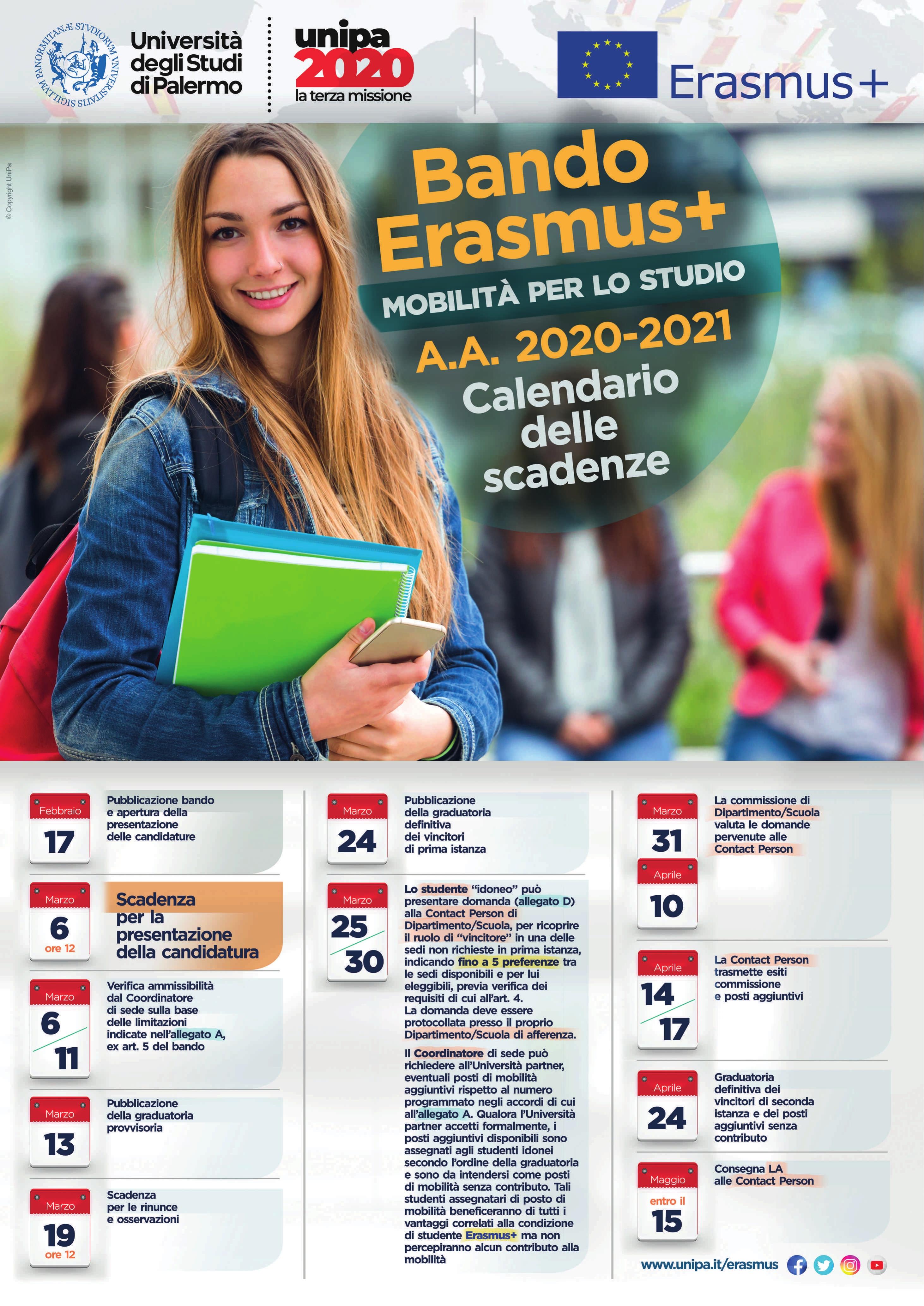 Erasmus+ Mobilità per lo studio AA2020/21 – Calendario delle