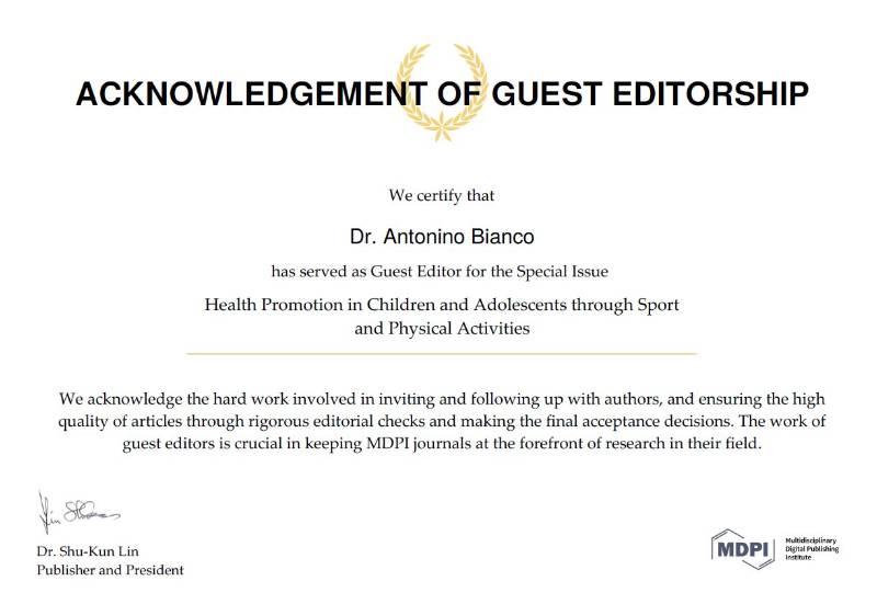 Antonino Bianco Guest Editor MDPI 2018