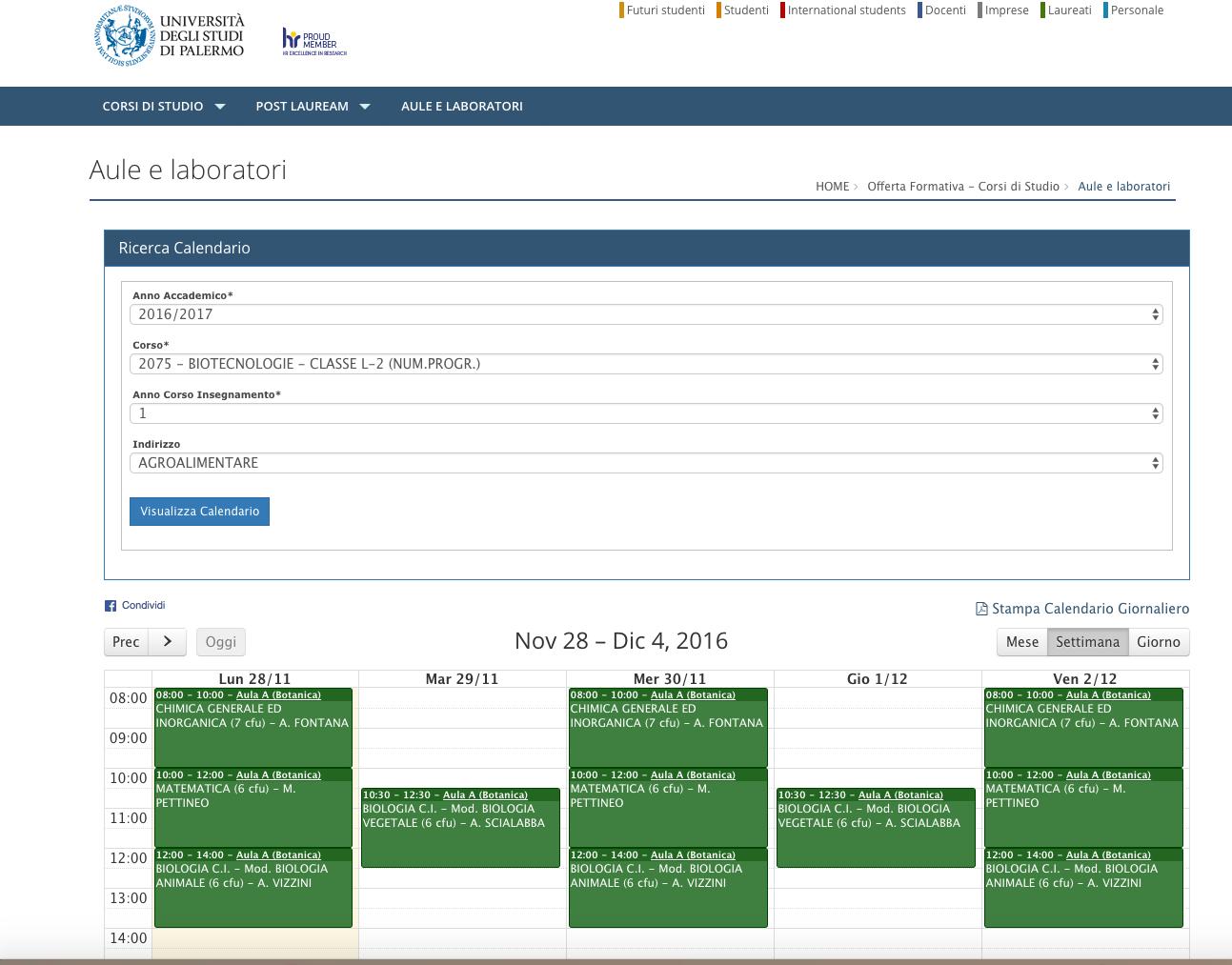 Calendario Didattico Unipa Scuola Delle Scienze Umane.Orario Delle Lezioni