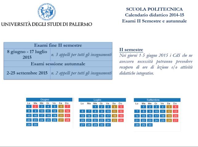 Calendario Didattico Unipa Ingegneria.Calendario Didattico